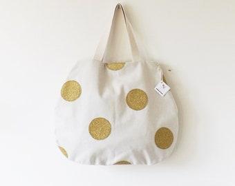 Beige bag with golden polka dot Glitter
