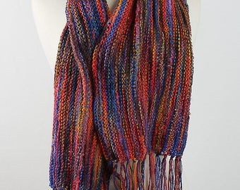 Long Fringed Scarf in Carnival Colors