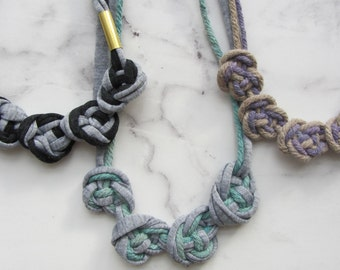 Necklace knotted fabric necklace/Knotenknette / node / textile chain / Jersey / cotton