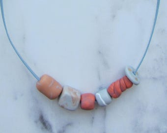 Necklace/pearls/band/handmade/geometric/grey/statement/unique/trend/casual/harmony/fresh/Fimo / polymer clay / apricot / orange / accent / gold