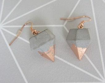Concrete earrings diamonds * new spring *.
