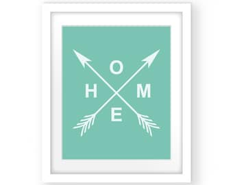Mint Green Print, Mint Green Art, Mint Wall Art, Mint Wall Decor, Home Mint Green Print, Wall Print Mint, Mint Print Decor, Arrow Mint