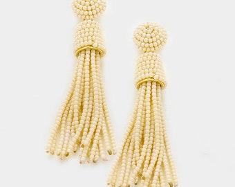 Ivory Seed Bead Tassel Earrings