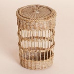 Dollhouse miniature, Wicker laundry basket with lid, scale 1 : 12, WC/11 08