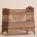 Dollhouse miniature, Wicker child's bedstead, scale 1 : 12, WC/10 26