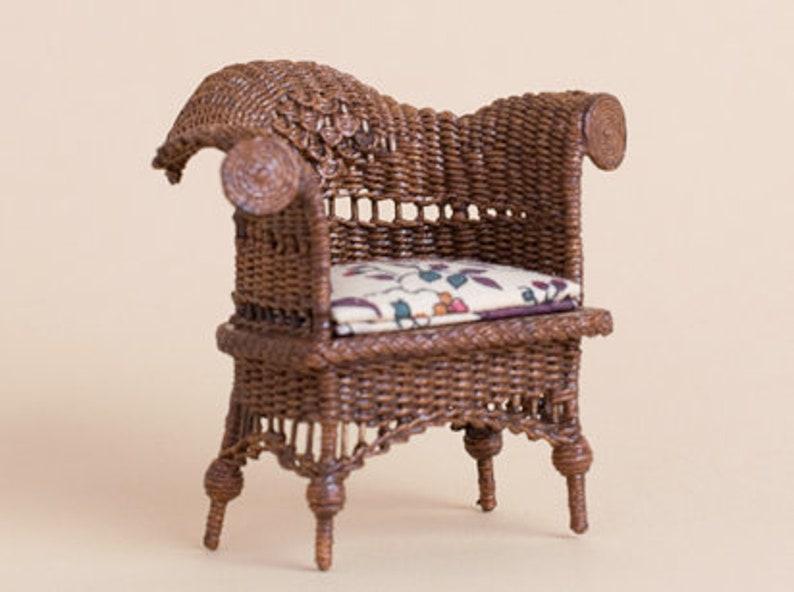 Dollhouse miniature Wicker swan chair scale 1 : 12 WC/09 14 image 0