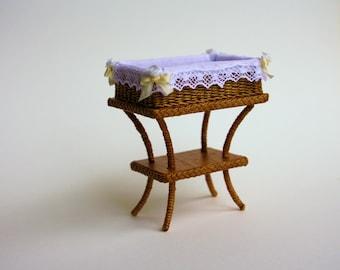 Dollhouse miniature, Wicker diaperbasket, scale 1 : 12, WC/20 06