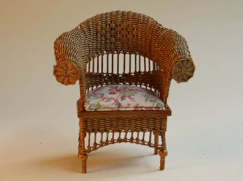 Dollhouse miniature Wicker chair scale 1 : 12 WC/13 16 image 0