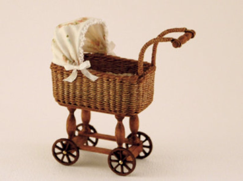 Dollhouse miniature Wicker doll's carriage scale 1 : 12 image 0