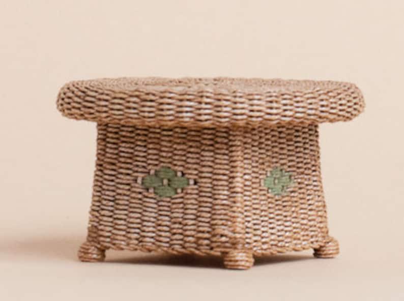 Dollhouse miniature Wicker Ottoman table scale 1 image 0