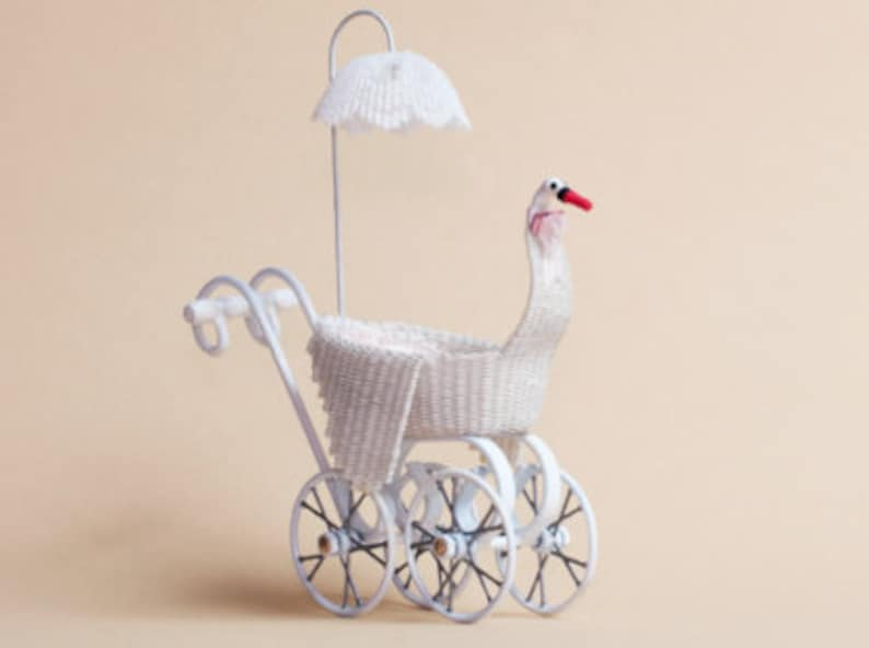 Dollhouse miniature Wicker swan child's carriage with image 0