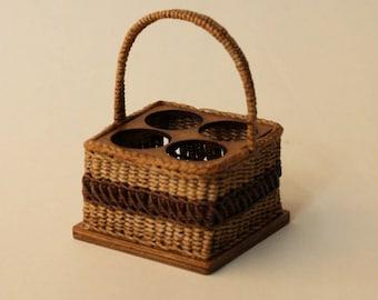 Dollhouse miniature, Wicker bottle basket, scale 1 : 12, WC/18 03