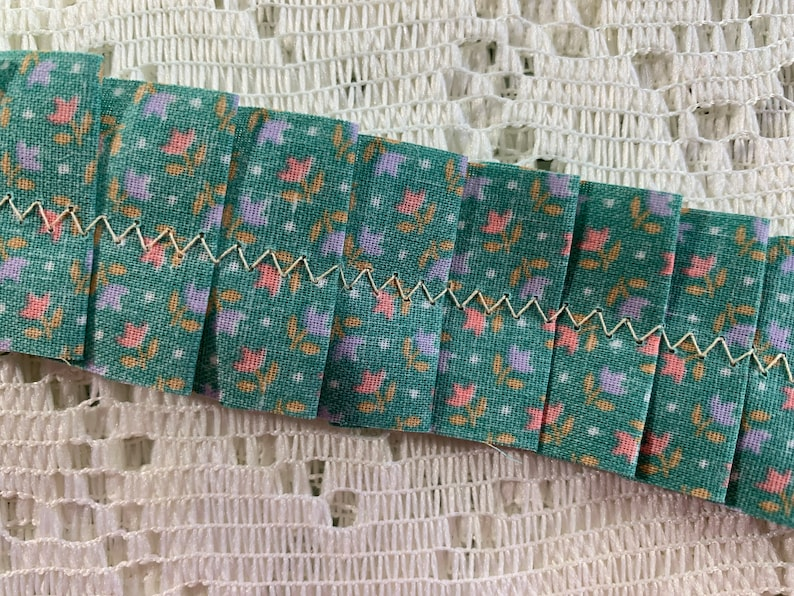 1 Yard of Vintage Fabric Ruffle Green Pink Purple Yellow Floral Hand Sewn Junk Journal Mixed Media Scrapbook Supplies Paper Craft