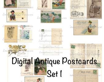 Digital Antique Postcards Set 1 - Printable Junk Journal Supplies Card Making Scrapbook Mixed Media Planner Paper Crafts Collage