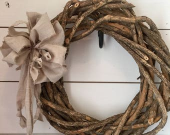 Twig Grapevine Wreath Thick Rustic Farmhouse Wall Front Door Decor