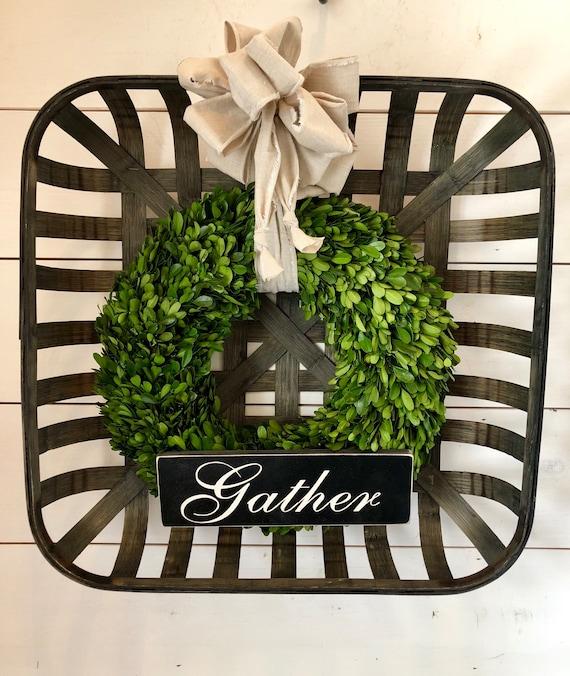 Large Tobacco Basket & Preserved Boxwood Wreath Preserved