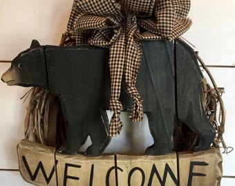 Welcome Bear Wreath, Small Welcome Wreath, Bear Wreath, Wall Decor,  Farmhouse Wall