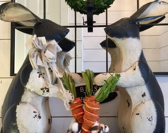 Rabbit decor, large metal rabbit, rustic rabbit, table decor, Easter decor, Easter wreath, Spring decor, rabbit set, farmhouse Easter decor