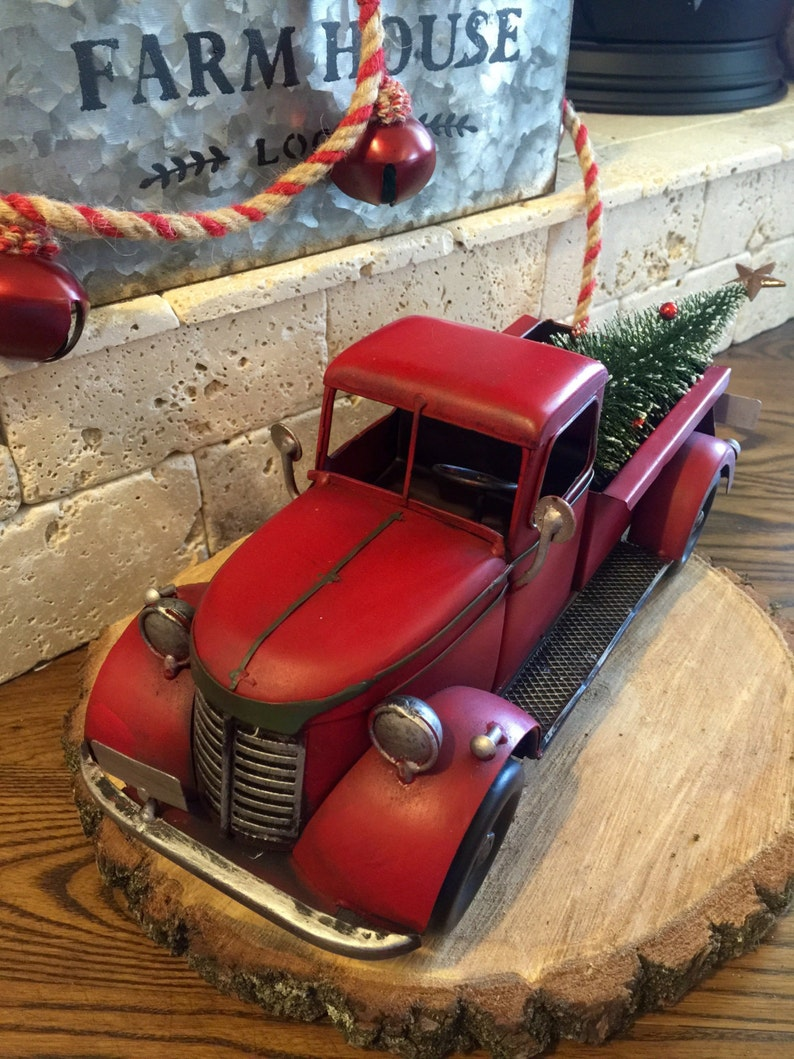 Old Red Truck With Christmas Tree In Back.Red Truck Christmas Old Timey Christmas Truck Christmas Tree Primitive Christmas Farmhouse Christmas Christmas Decor Holiday Decor