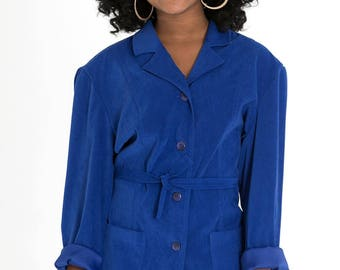 VINTAGE 90s Blue Belted Jacket Sz XS-L