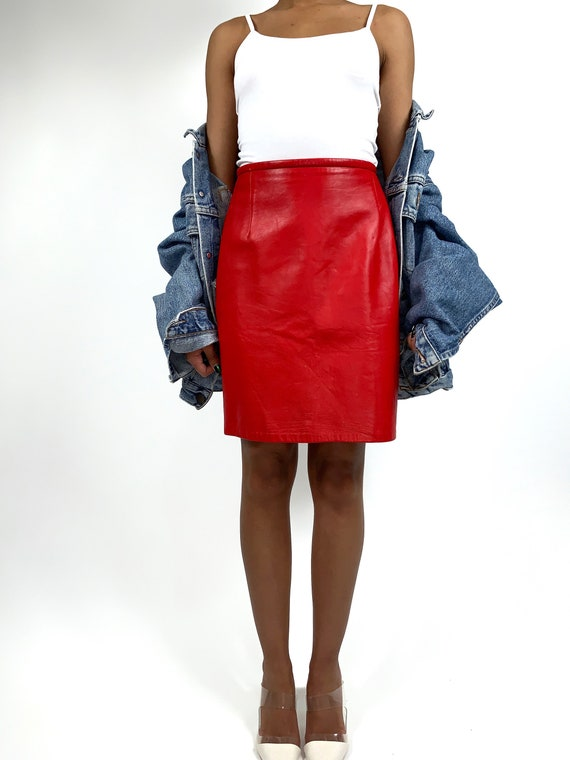 VINTAGE 80s Red Leather Pencil Skirt Size Small