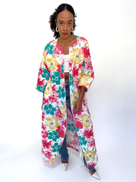 VINTAGE 90s Pink Floral Duster Robe Housecoat Sz M