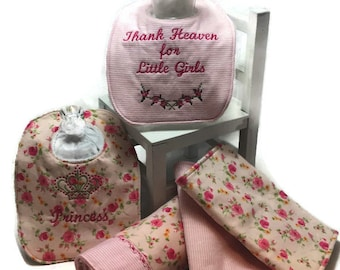 Baby Receiving Blanket, Bibs and Burp Cloths Gift Set, Floral, Baby Girl, Baby Shower Gift, Baby Gift, Swaddle Blanket