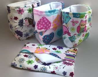 Baby Doll Diapers, Doll Diaper Bag, play diapers, doll accessories, doll clothes, pretend play, cloth diapers, baby doll gift