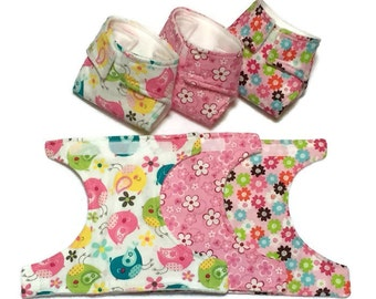 Baby Doll Diapers, Set of 3, pretend play, doll accessories, play diapers, doll clothes, cloth diapers, baby doll gift, doll diaper bag