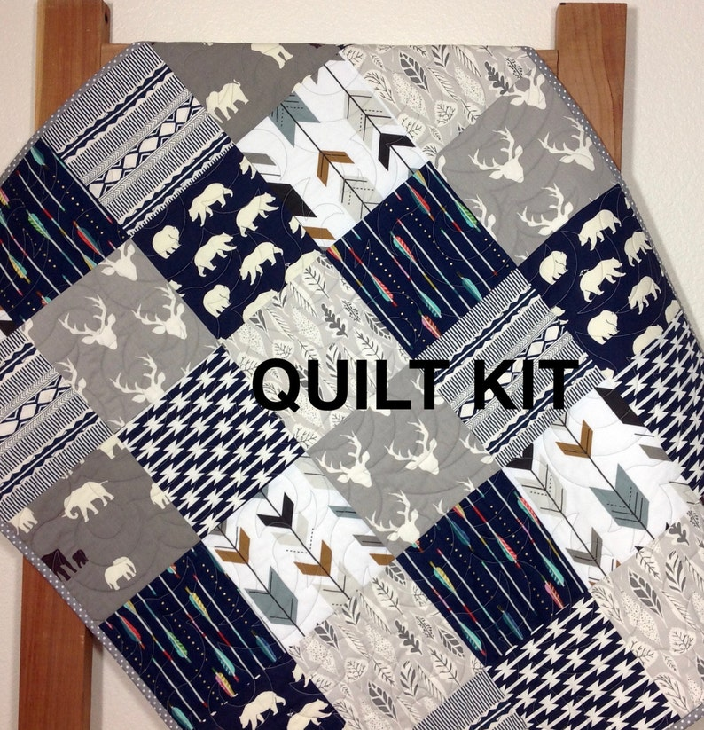 Woodland Quilt Kit, For YOU to SEW, Baby Boy Quilt Kit, Woodland Nursery,  Deer, Arrows, Bears,Elephants, Animals, Navy Arrows QK-7