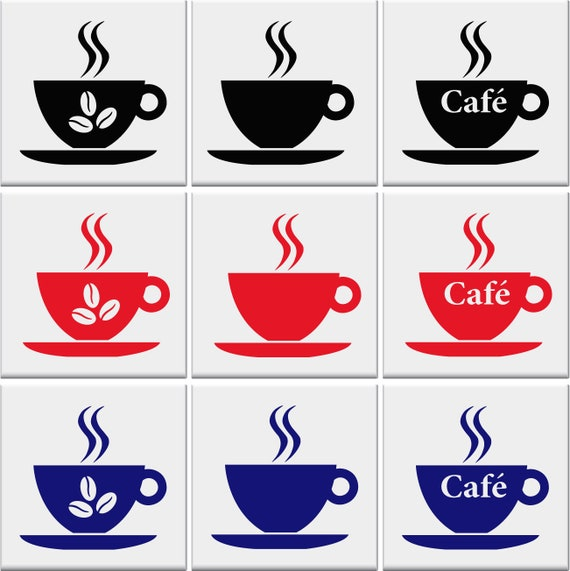 COFFEE CUP Tile Stickers Kitchen Sticker Cups Vinyl Wall Art Transfer Decal AD*8