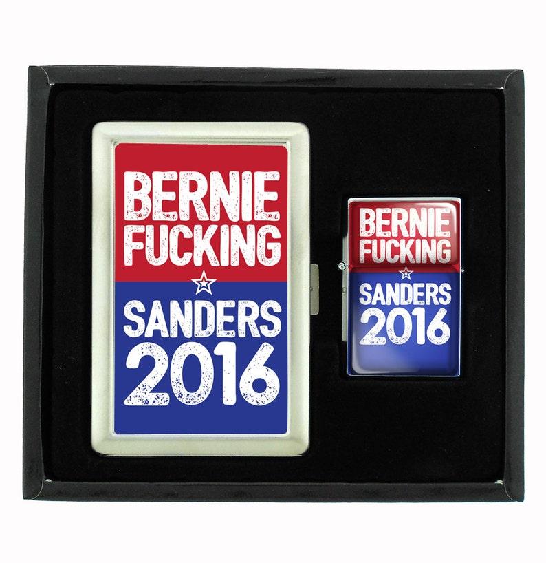 976fd463accfa Bernie Fucking Sanders Cigarette Case and Flip Top Oil Lighter Set 2016  Presidential Election