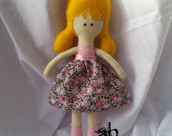 Textile Doll | Felt Doll | Fabric Doll | Soft Doll | Rag Doll | Cloth Doll | Soft Toy | Plush Toy | Pink Flowers Dress | Spring Dolls