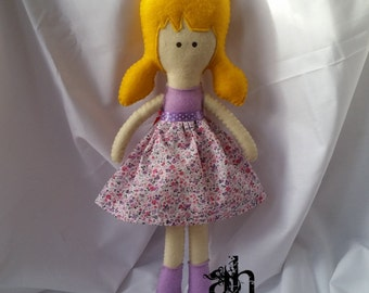 Textile Doll | Felt Doll | Fabric Doll | Soft Doll | Rag Doll | Cloth Doll | Soft Toy | Plush Toy | Purple Flowers Dress | Spring Dolls