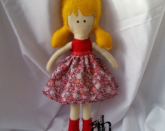 Textile Doll | Felt Doll | Fabric Doll | Soft Doll | Rag Doll | Cloth Doll | Soft Toy | Plush Toy | Red Flowers Dress | Spring Dolls