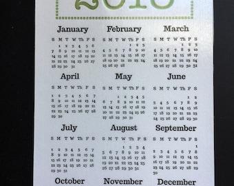 2018 Fridge Magnet Letterpress Calendar