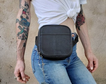 New Design Waist bag with Cd Player Holder Genuine Leather Fanny pack by Marshal