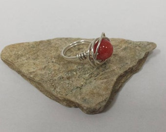 Handmade Sterling Silver Wire Wrapped Red Quartzite Bead Ringsz7 FREE SHIPPING!