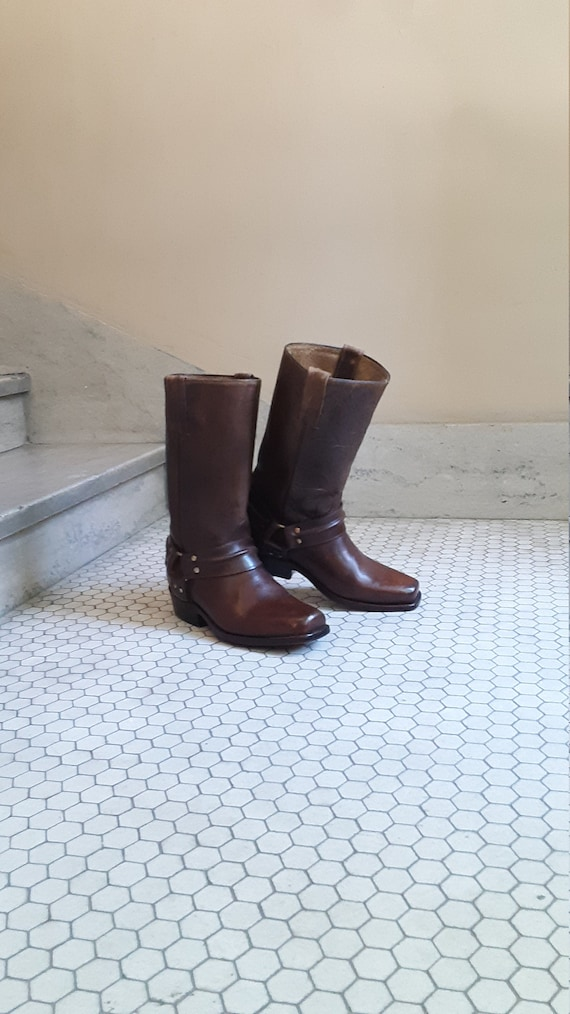 Vintage 1970s Brown Harness Boots