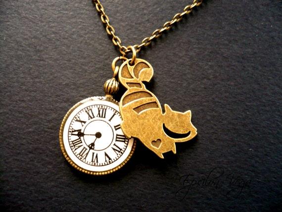 Alice Im Wunderland Halskette Grinsekatze Und Taschenuhr Etsy
