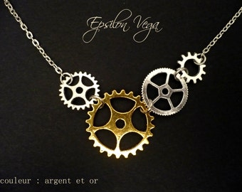 Steampunk gear necklace