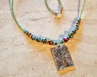BLD Peg Montana green single strand beaded necklace with brass tree of life  pendant
