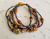 5SB Peg Montana copper iris, denim and cherry creek jasper 5 Strand Bracelet