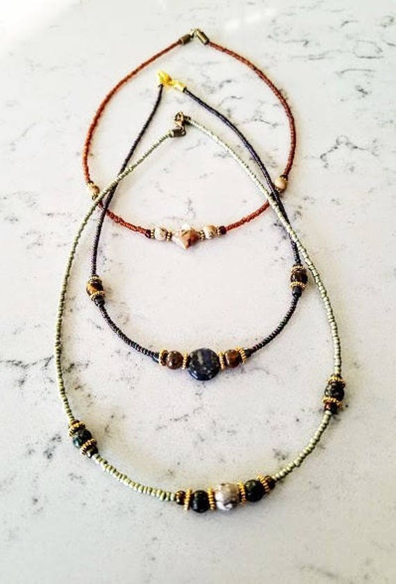 L3S Peg Montana Long 3 Strand Blue and Brown Iris Glass necklace