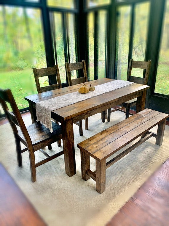 Farmhouse Kitchen Table Set, Farmhouse Table With Bench , Rustic Kitchen  Table Set.