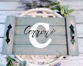 Wooden serving tray with handles, monogrammed wooden tray, ottoman tray, personalized wedding gift, 50 anniversary gifts Parents anniversary