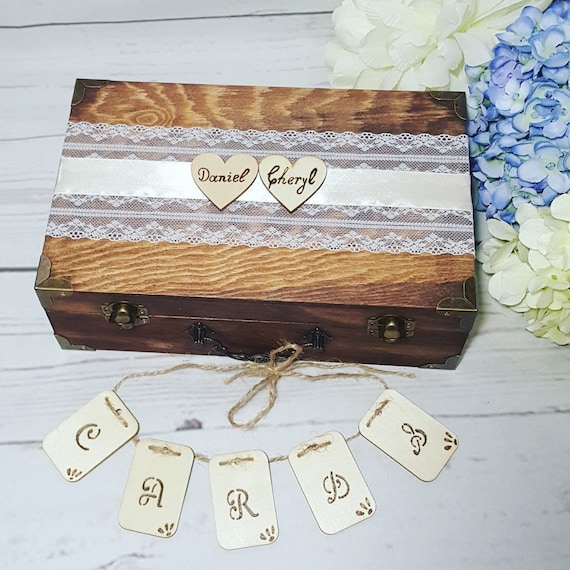 Rustic Wedding Card Box With Cards Banner Wedding Envelope Box Wedding Money box