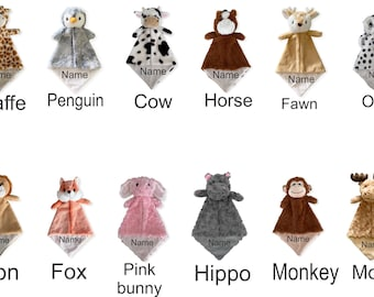 Personalized Animal Lovey Stuffies Security blankie Snuggler Lovie Blanket Shower gift baby boy girl gift wrapped FAST SHIPPING!