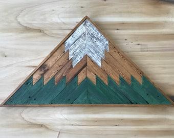 Reclaimed Wood Mosaic Mountain Triangle