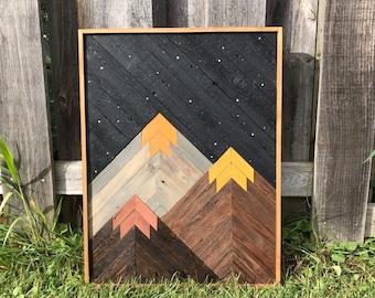 Reclaimed Wood Mountain Art
